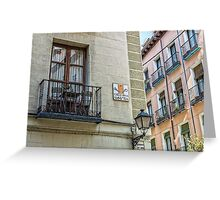 Balcony at Amnesty street in Madrid city center Greeting Card