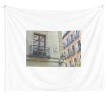 Balcony at Amnesty street in Madrid city center Wall Tapestry