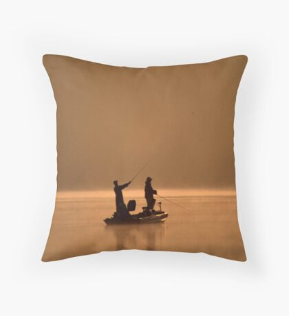 Two Friends Fishing Throw Pillow