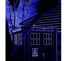 Neon Blue T.A.R.D.I.S. Photographic Print