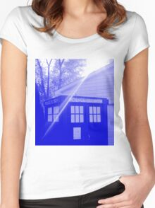 Blue and White T.A.R.D.I.S. Women's Fitted Scoop T-Shirt