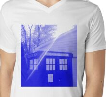 Blue and White T.A.R.D.I.S. Mens V-Neck T-Shirt