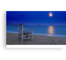 Watching the moon set Canvas Print