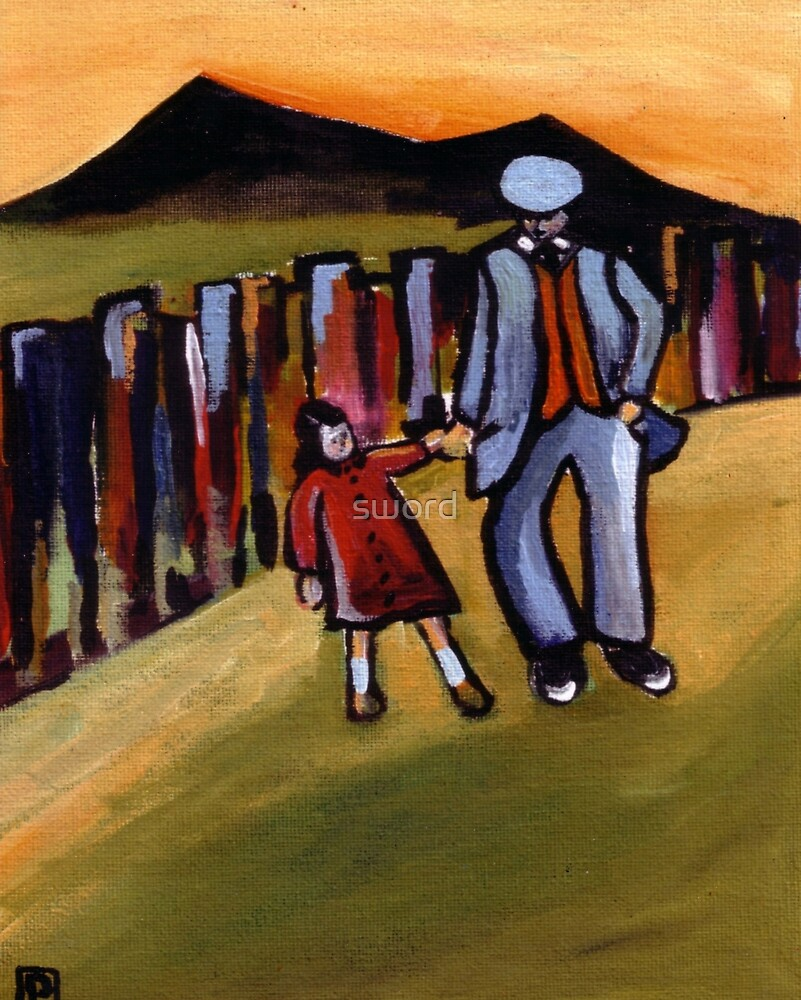 Walking with grandad (from my original acrylic painting ) by sword