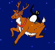 Penguin flying with reindeer by drknice