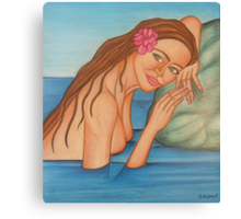 Lady In Lake Canvas Print