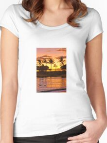 Sunset on Ohua Women's Fitted Scoop T-Shirt