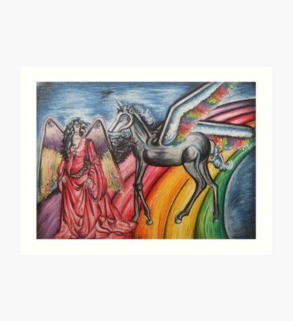 Girl & Unicorn Art Print