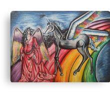 Girl & Unicorn Canvas Print
