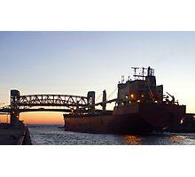 Cargo Ship at Twilight Photographic Print
