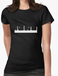 Birds on Fence White Womens Fitted T-Shirt