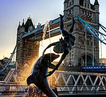 Tower Bridge and Girl with a Dolphin Fountain - HDR by Colin J Williams Photography