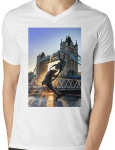 Tower Bridge and Girl with a Dolphin Fountain - HDR Mens V-Neck T-Shirt