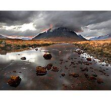Sun sets behind Buachaille Etive Mor at Glencoe Scotland Photographic Print