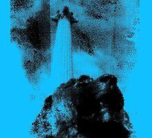 Trafalgar Square Lion, London UK Blue by anhcreative