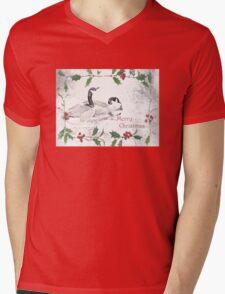 """Nostalgic Geese """"Merry Christmas"""" ~ Greeting Card Mens V-Neck T-Shirt"""