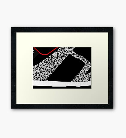 Made in China SB x Superme Black/Cement - Pop Art, Sneaker Art, Minimal Framed Print