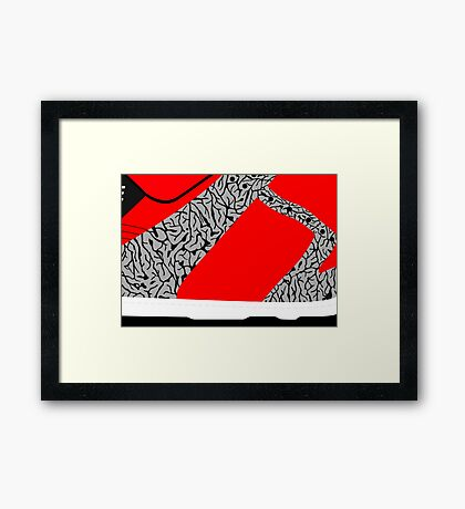 Made in China SB x Superme Red/Cement - Pop Art, Sneaker Art, Minimal Framed Print