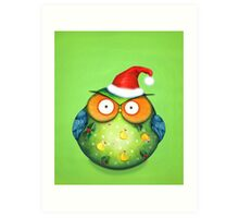 Funny Santa Owl Art Print