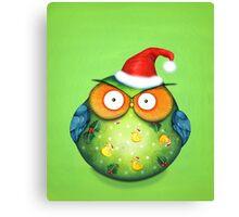 Funny Santa Owl Canvas Print