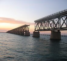 Bahia Honda Bridge Sunset on the Water by fennam