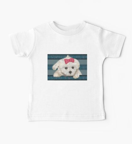 Cute Maltese Dog with Creme Fur and Red Ribbon Baby Tee