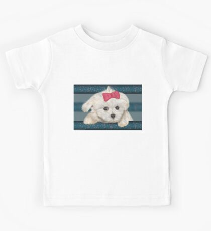 Cute Maltese Dog with Creme Fur and Red Ribbon Kids Tee