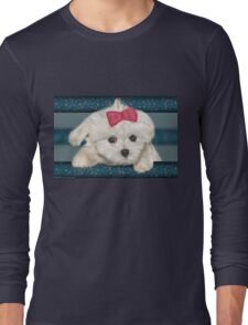 Cute Maltese Dog with Creme Fur and Red Ribbon Long Sleeve T-Shirt