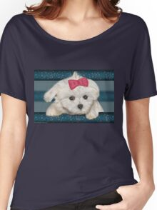 Cute Maltese Dog with Creme Fur and Red Ribbon Women's Relaxed Fit T-Shirt
