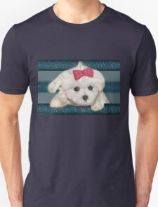 Cute Maltese Dog with Creme Fur and Red Ribbon T-Shirt