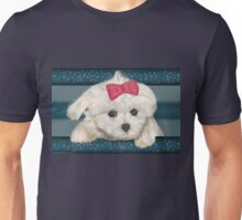 Cute Maltese Dog with Creme Fur and Red Ribbon Unisex T-Shirt