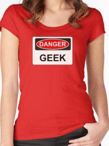 Danger Geek - Warning Sign Women's Fitted Scoop T-Shirt