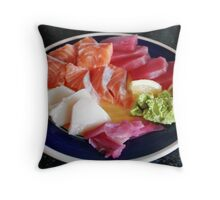 Plate of sashimi Throw Pillow