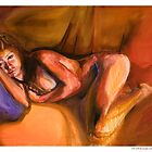 Girl with the purple cushion - Byron Tik Art Bay  by Byron  Tik