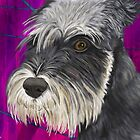 Black and White Schnauzer Purple Pillow by ibadishi