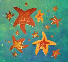 Starry Starfish Night by Barbora  Urbankova