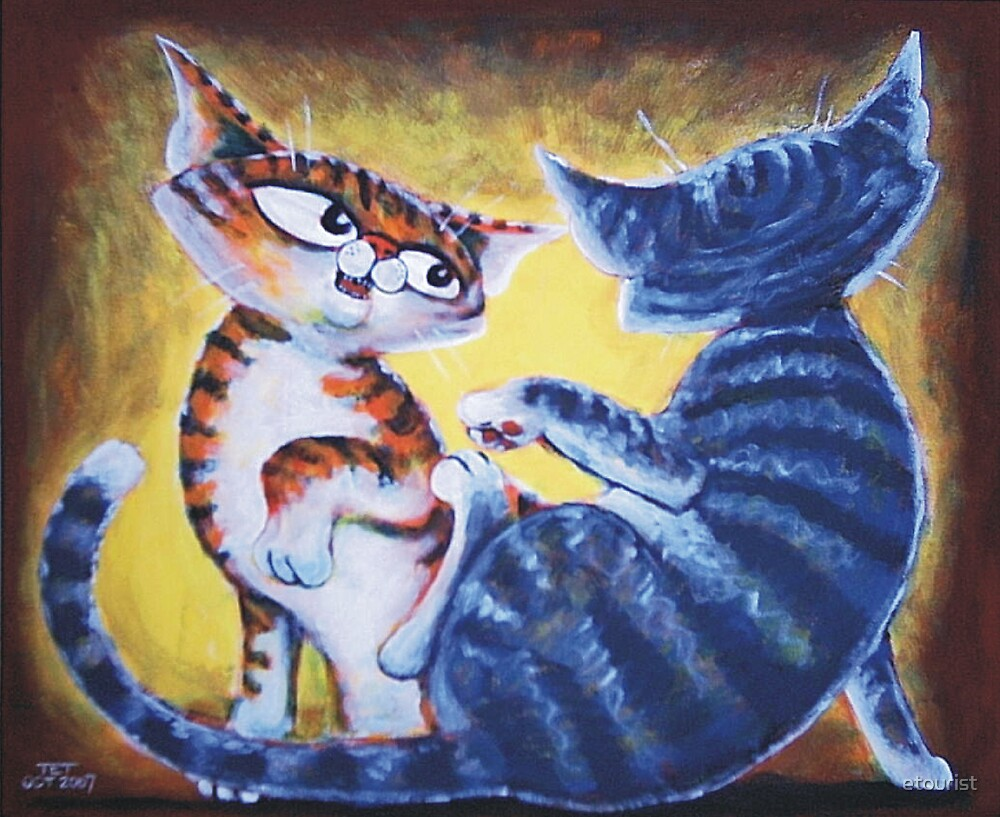 Two Cat, Feline Fun - Art by TET by etourist