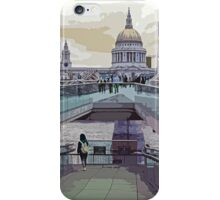 View along Millennium bridge towards St Paul's Cathedral by Tim Constable iPhone Case/Skin
