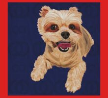 Yellow Coat Mixed Maltese on Blue pillow One Piece - Short Sleeve