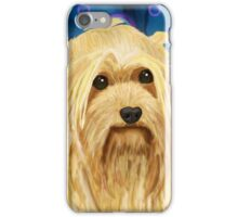 Digitally Painted Blond Hairy Yorkshire on Blue iPhone Case/Skin