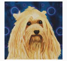 Digitally Painted Blond Hairy Yorkshire on Blue Kids Tee