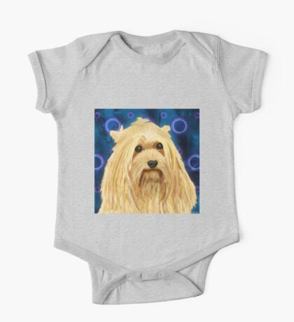 Digitally Painted Blond Hairy Yorkshire on Blue One Piece - Short Sleeve
