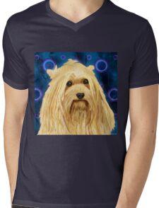 Digitally Painted Blond Hairy Yorkshire on Blue Mens V-Neck T-Shirt