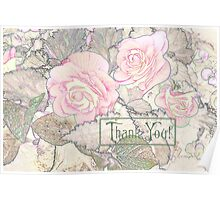 Pink Begonias - Thank You Card  Poster