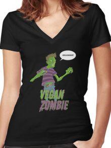 Vegan Zombie Women's Fitted V-Neck T-Shirt