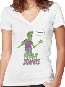 Vegan Zombie Women's Fitted V-Neck T-Shirt