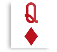 Queen of Diamonds Red Playing Card Metal Print