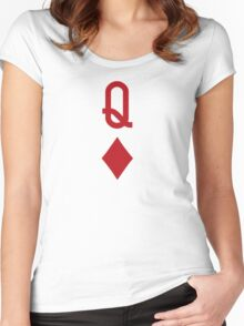 Queen of Diamonds Red Playing Card Women's Fitted Scoop T-Shirt
