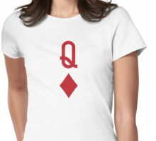 Queen of Diamonds Red Playing Card Womens Fitted T-Shirt