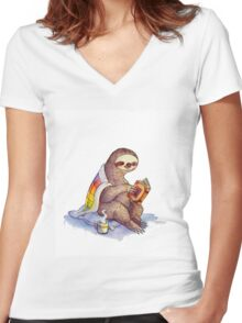 Cozy Sloth Women's Fitted V-Neck T-Shirt